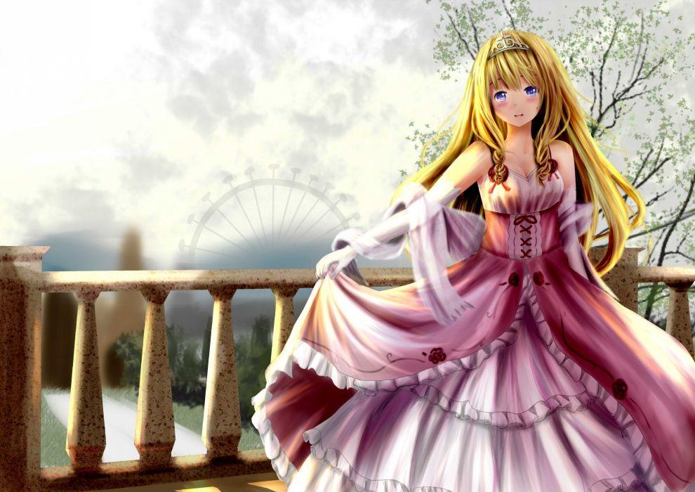 amagi brilliant park blonde hair blue eyes dress elbow gloves latifah fleuranza long hair sigit dwiky wallpaper