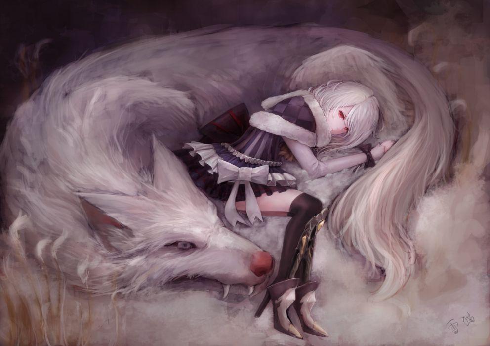 animal animal ears bow dress original red eyes thighhighs white hair wolf yukineko wallpaper
