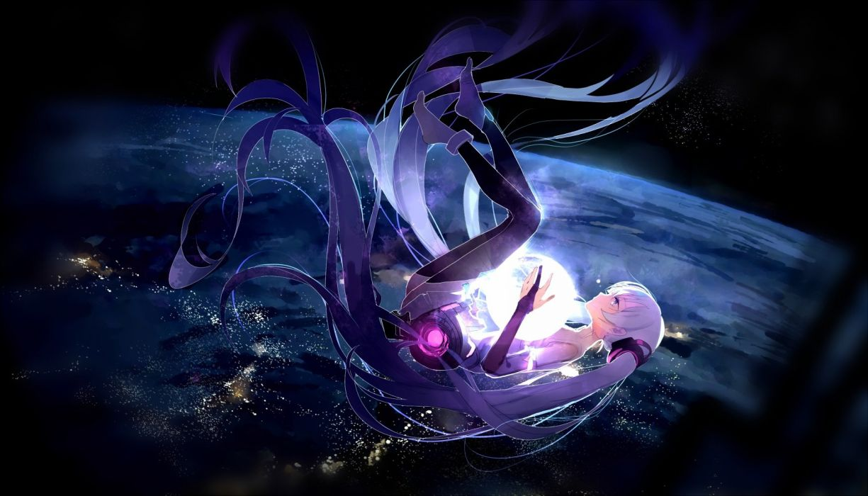 aliasing hatsune miku long hair miku append scenic space twintails vocaloid yu jiu wallpaper
