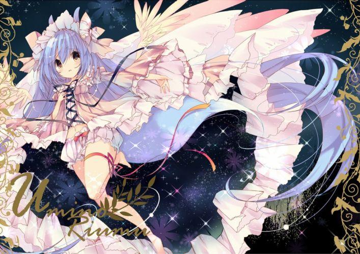 bloomers blue hair blush brown eyes headdress long hair mizu (nonbiri) navel original photoshop ribbons wallpaper