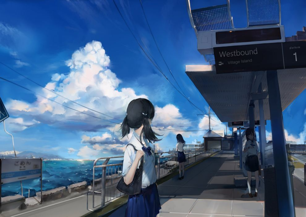black hair clouds original qqwew00123 rooftop scenic seifuku shade skirt sky twintails water wallpaper
