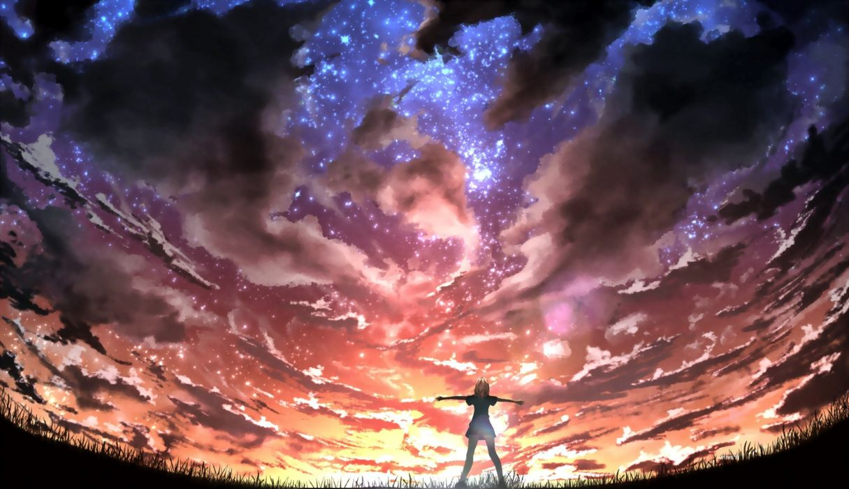 clouds cropped grass kigumo tyou original photoshop scenic sky stars wallpaper