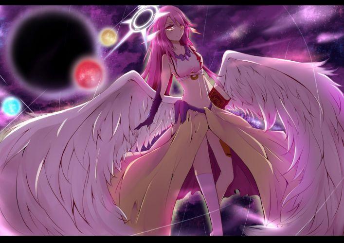 angel book halo jibril navel no game no life pink hair tagme (artist) wings yellow eyes wallpaper