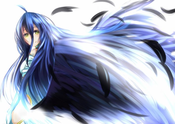 albedo black hair feathers long hair overlord tagme (artist) wings yellow eyes wallpaper