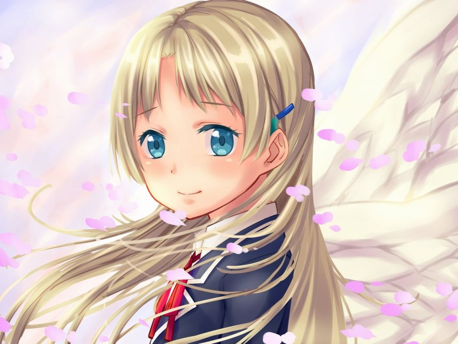 arios (orochi yuta) blonde hair blue eyes chuunibyou demo koi ga shitai! dekomori sanae long hair petals wings wallpaper