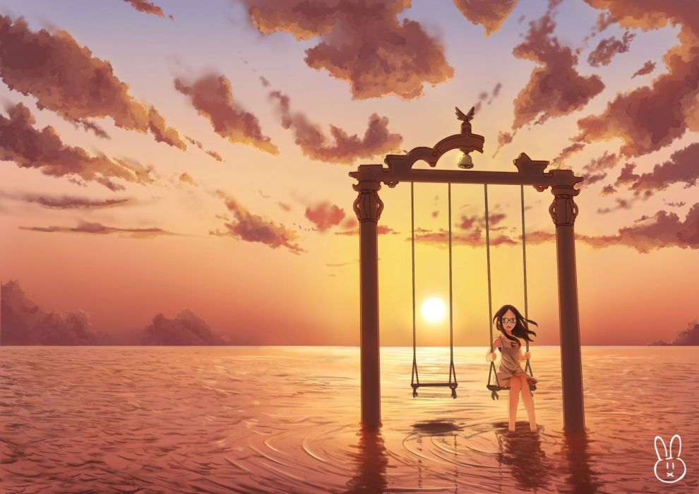 bell clouds dress glasses harousel long hair original sky sunset water wallpaper