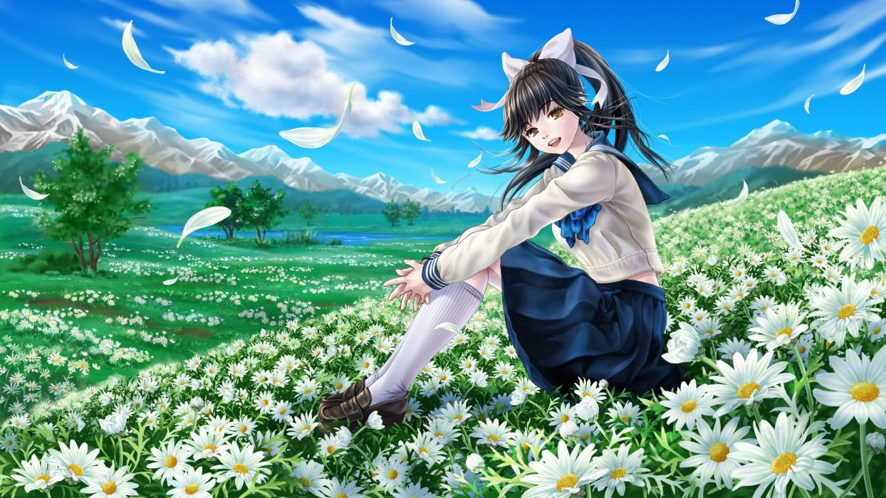 black hair bow clouds flowers grass kneehighs landscape long hair love plus petals ponytail scenic seifuku skirt sky takane manaka tree wallpaper