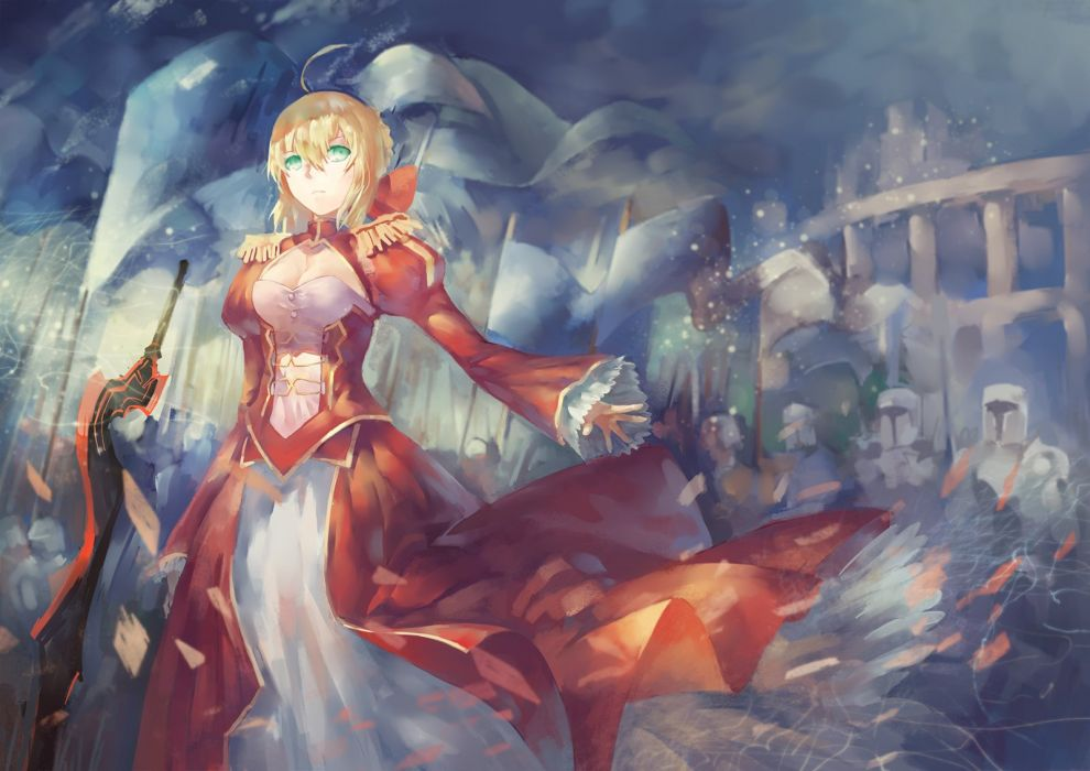 avamone blonde hair dress fate extra fate grand order green eyes saber extra sword weapon wallpaper