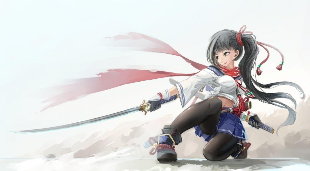 black hair katana kikivi long hair navel original pantyhose ponytail scarf seifuku skirt sword weapon wallpaper