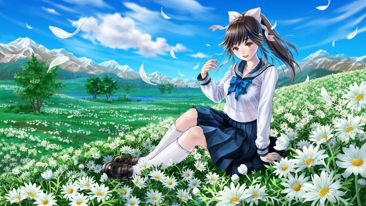 black hair bow clouds flowers grass kneehighs landscape long hair love plus petals ponytail scenic seifuku skirt sky takane manaka tree wallpaper
