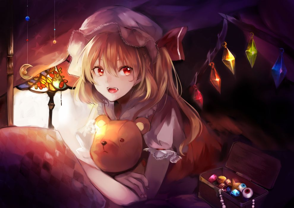 blonde hair fang flandre scarlet hat jpeg artifacts red eyes teddy bear touhou vampire wings yuki shiro (ubq315) wallpaper