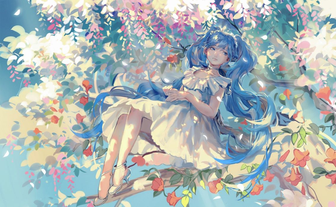 choker dress flowers hatsune miku leaves long hair rrr (627470487) tree twintails vocaloid wallpaper