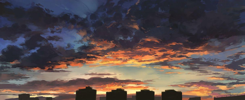 city clouds cropped dualscreen nobody nodata original photoshop scenic sky sunset wallpaper