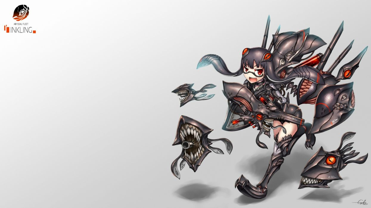 black hair crossover gia glasses gradient kantai collection long hair original photoshop red eyes splatoon thighhighs weapon wallpaper