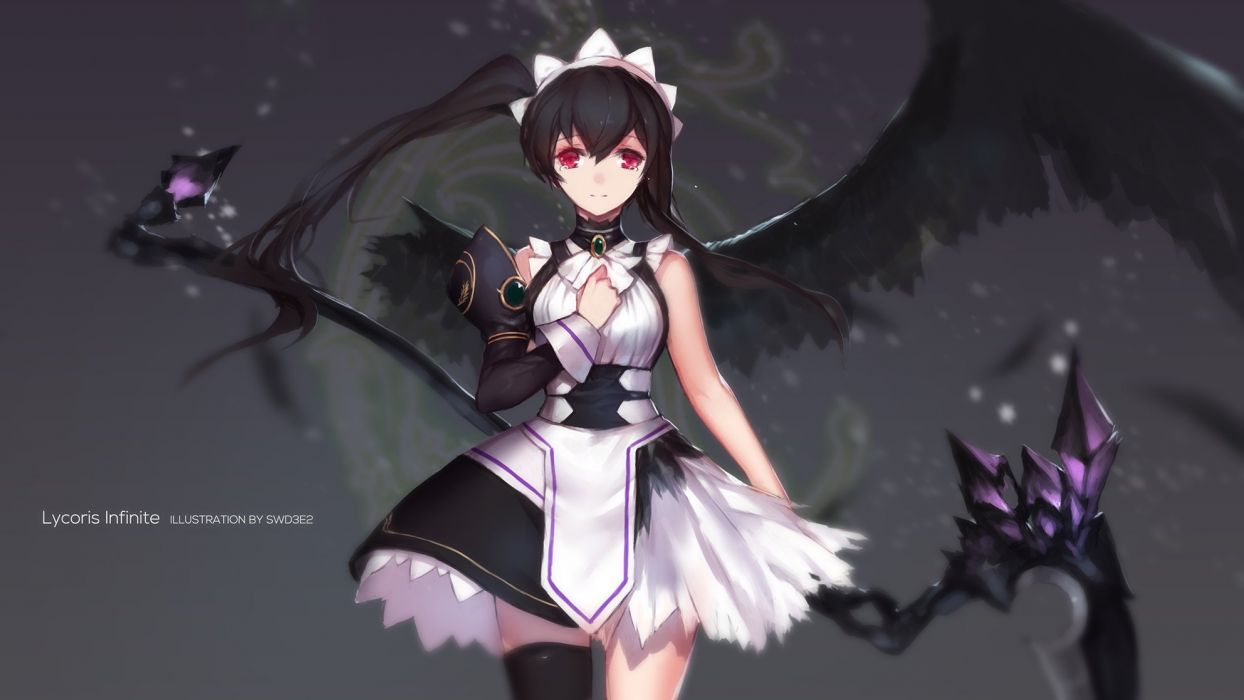 black hair dress gray headdress long hair ponytail red eyes scythe swd3e2 tears thighhighs weapon wings wallpaper