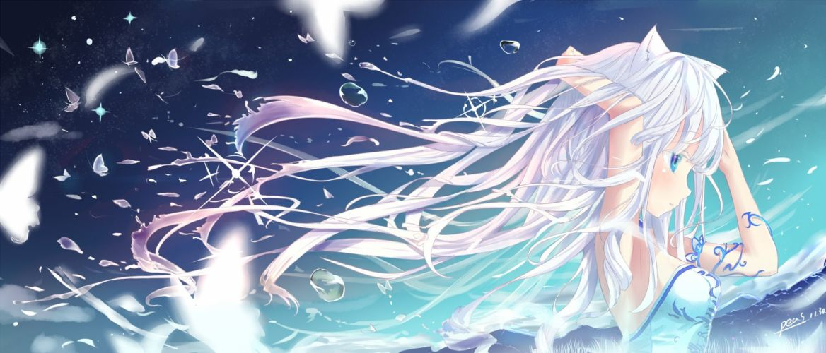 blade & soul blue eyes butterfly long hair peas signed tagme white hair wallpaper