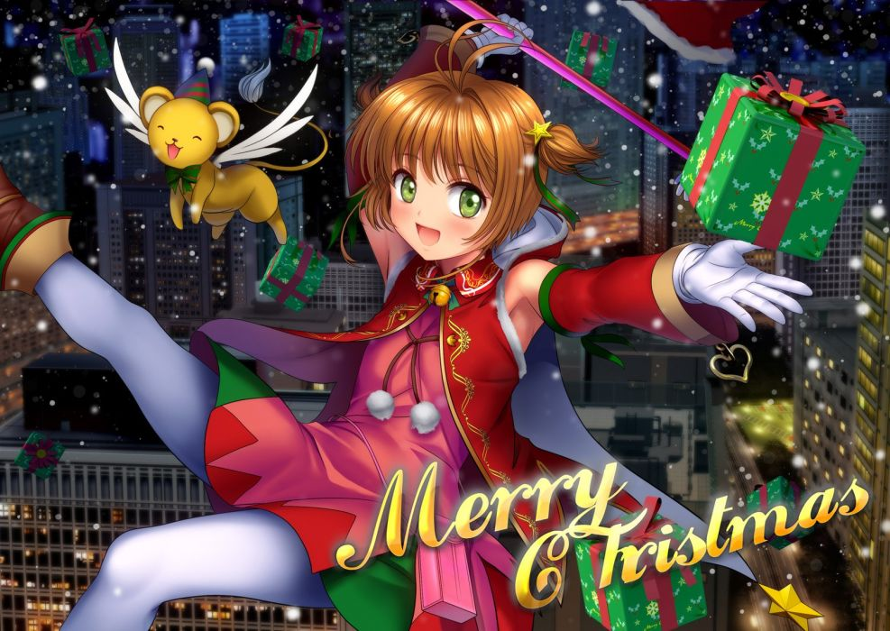 brown hair card captor sakura christmas city gloves green eyes kero kinomoto sakura moonknives night pantyhose short hair wallpaper