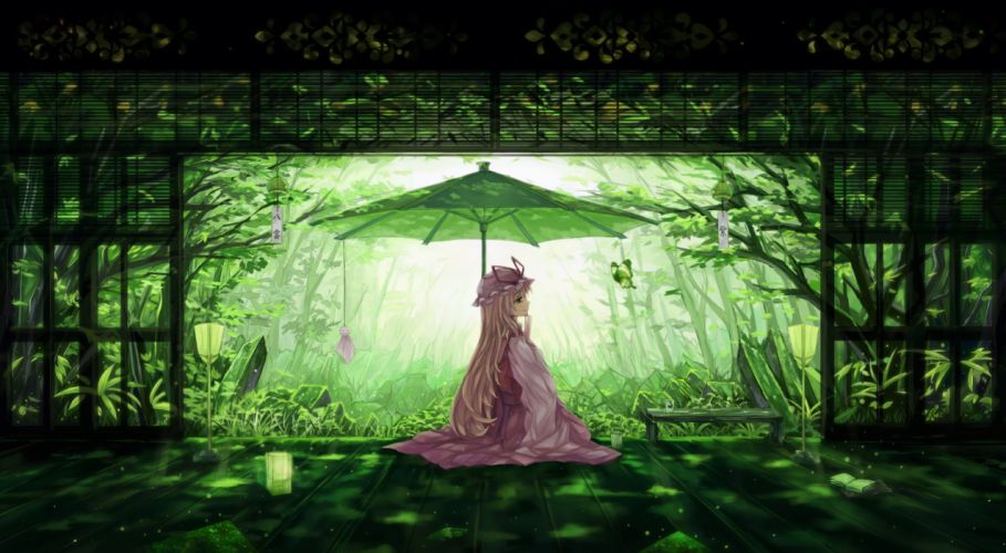 blonde hair book butterfly dead line drink green hat leaves long hair shade touhou tree umbrella yakumo yukari wallpaper