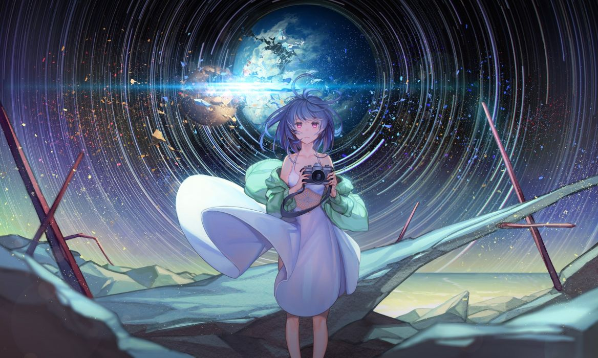 blue hair camera dress mt (ringofive) night original pink eyes sky stars wallpaper