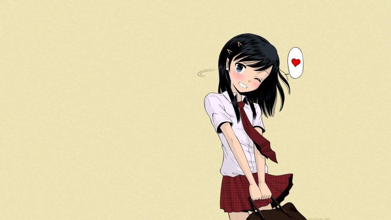 black hair blue eyes blush seifuku shirt short hair skirt tamachi yuki tie wallpaper