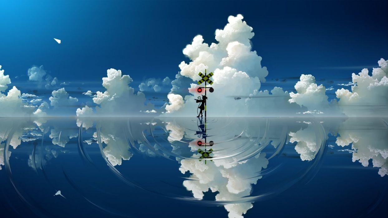clouds endlesscat komeiji koishi scenic silhouette sky touhou water wallpaper