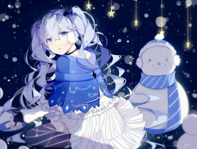 blue eyes blue hair fuyu no yoru miku hatsune miku lococo-p long hair snow snowman stars thighhighs vocaloid wallpaper