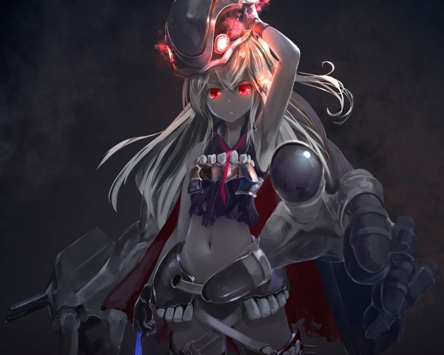 cropped destroyer water oni gray kantai collection kouji (astral reverie) long hair polychromatic red eyes white hair wallpaper