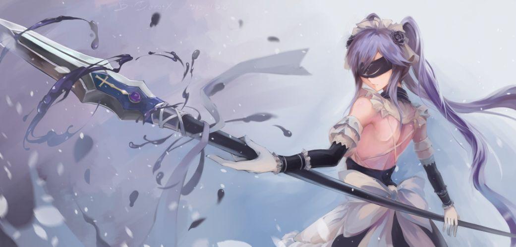 blindfold bow bzerox gloves long hair maid original purple hair spear twintails weapon wallpaper
