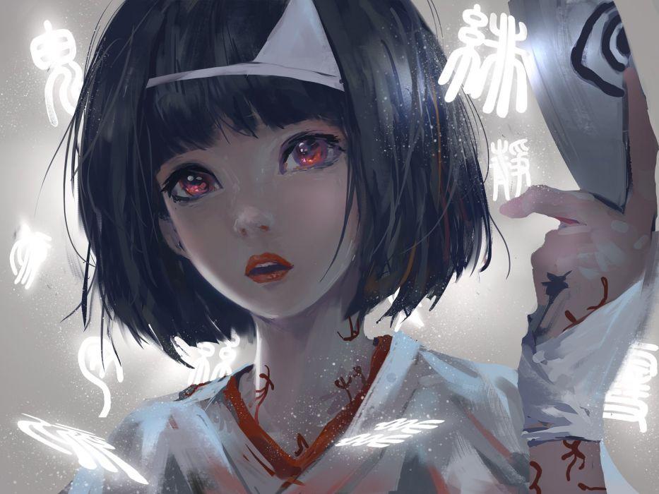 black hair headdress japanese clothes kimono noragami nora (noragami) red eyes short hair wlop wallpaper