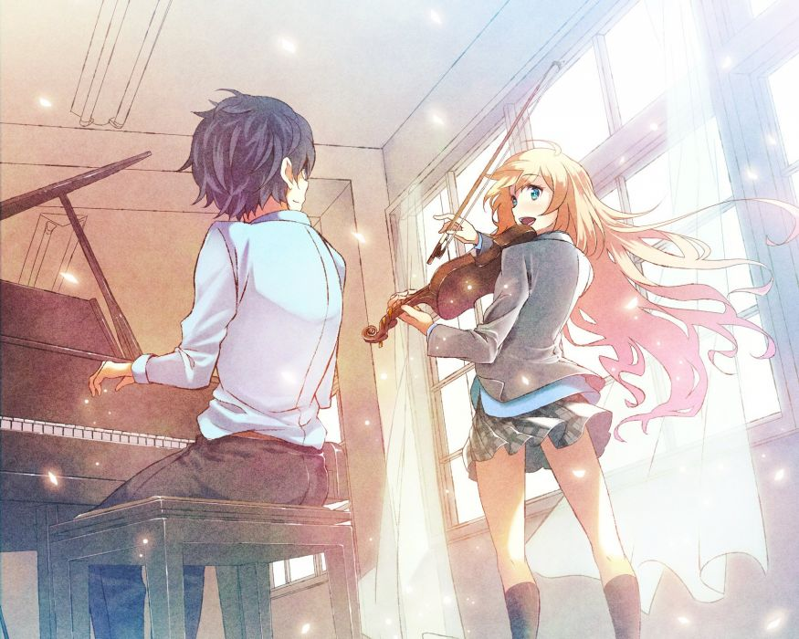 arima kousei black hair blonde hair blue eyes cropped furai instrument kneehighs male miyazono kawori piano shigatsu wa kimi no uso skirt violin wallpaper