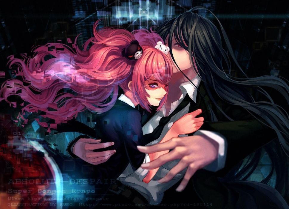 black hair catwyz dangan-ronpa dangan-ronpa 2 enoshima junko kamukura izuru long hair pink hair tie wallpaper
