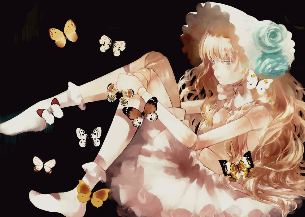 aqua eyes black blonde hair bow butterfly doll flowers hat headdress lolita fashion long hair moekon original socks wallpaper