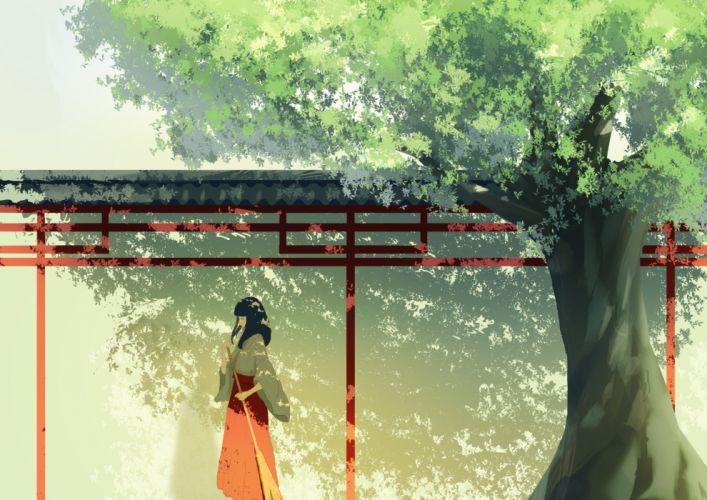 black hair cjl6y5r japanese clothes miko original shrine tree wallpaper