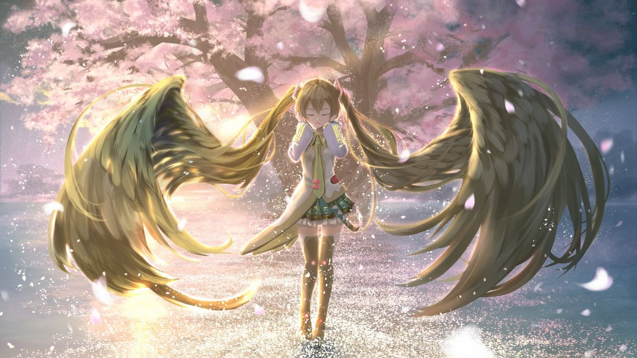 Vocaloid Hatsune Miku 1920x1080 Wallpaper Hair Wings Pleated Skirt wallpaper