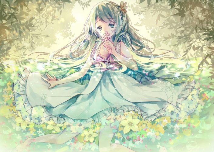 Vocaloid Hatsune Miku Bare Legs Pink Flower Teal Outfit wallpaper