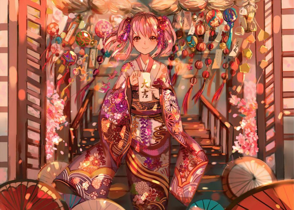 Mahou Shoujo Madoka Magica Kaname Madoka Paper Short Twin Tails Stairs wallpaper
