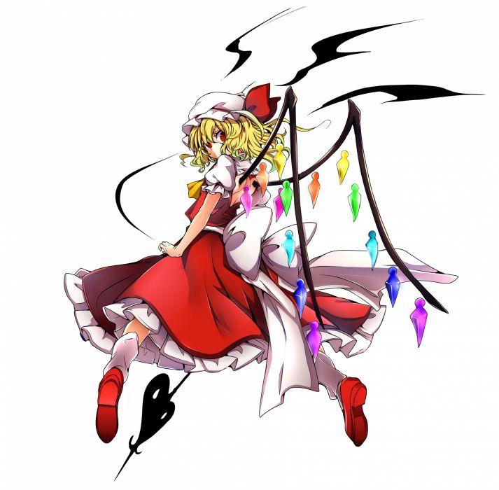 Touhou Flandre Scarlet Crystal Unusual Colored Wings Red Skirt wallpaper
