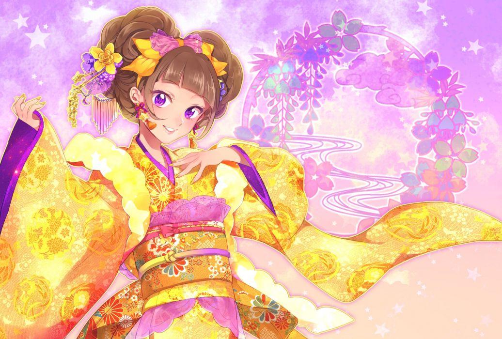 Go! Princess Precure Amanogawa Kirara Wide Sleeves Twin Buns Yellow Nails wallpaper