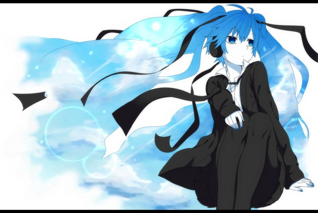 Vocaloid Hatsune Miku Day Flowing Hair Hair Ribbon wallpaper