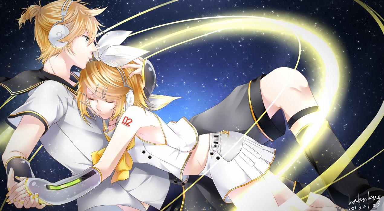 Vocaloid Kagamine Len Kagamine Rin Dark Background Yellow Neckwear wallpaper