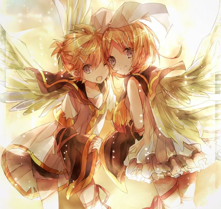 Vocaloid Kagamine Len Kagamine Rin Yellow Neckwear Pink Ribbon wallpaper