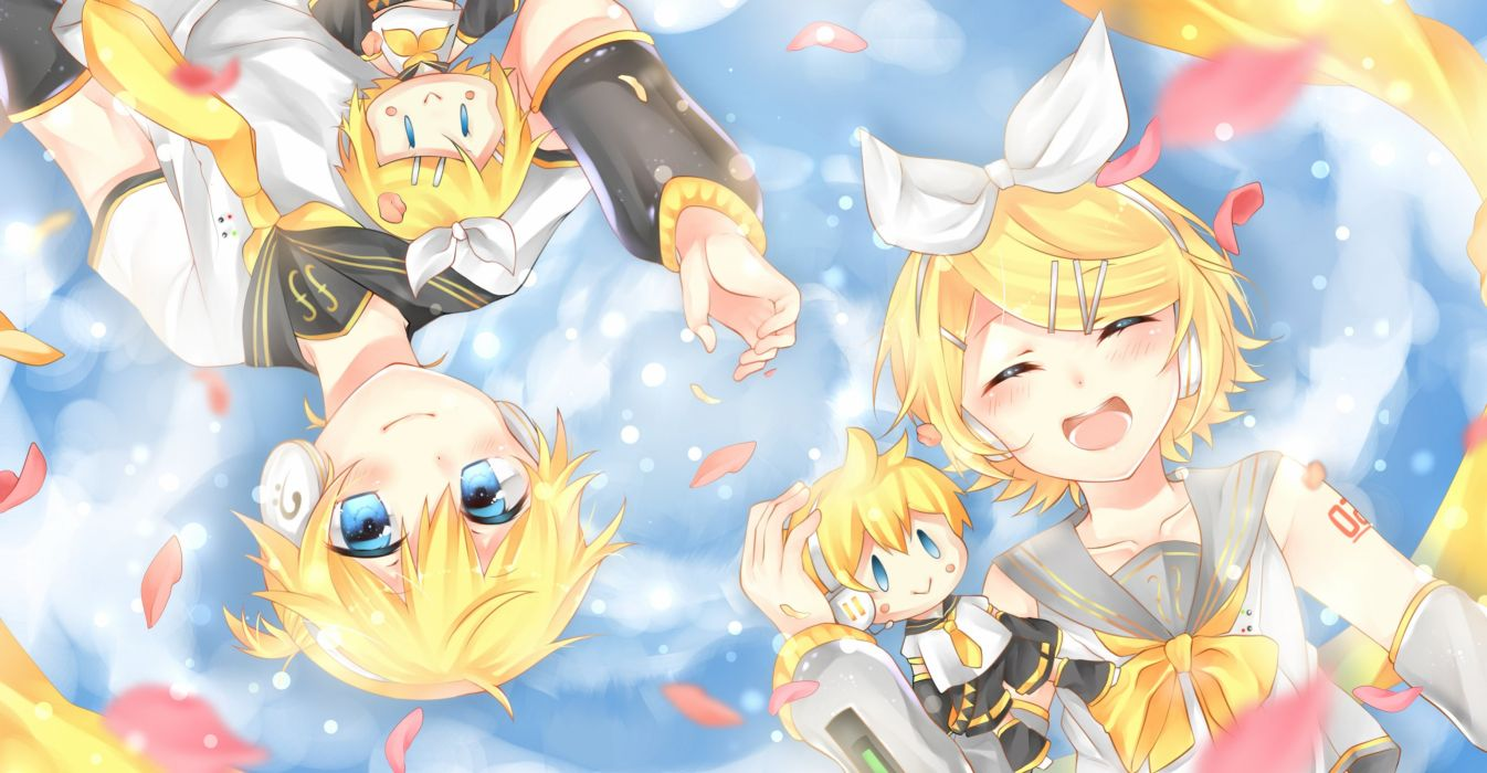 Vocaloid Kagamine Len Kagamine Rin Gray Armwear Waist Up wallpaper