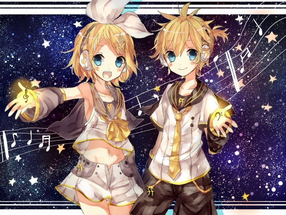 Vocaloid Kagamine Rin Kagamine Len Music Staff Yellow Bow wallpaper