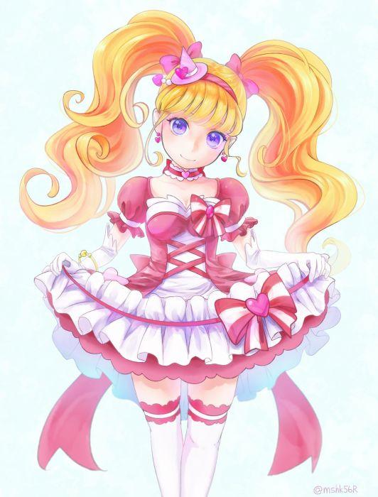 Mahou Tsukai Precure! Asahina Mirai Cure Miracle Striped Bow Curtsey wallpaper
