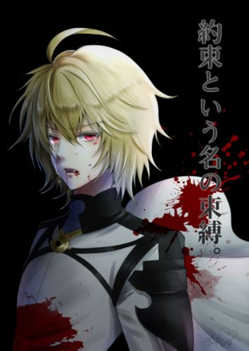 Owari no Seraph Hyakuya Mikaela Dark Background Fangs Splatter wallpaper
