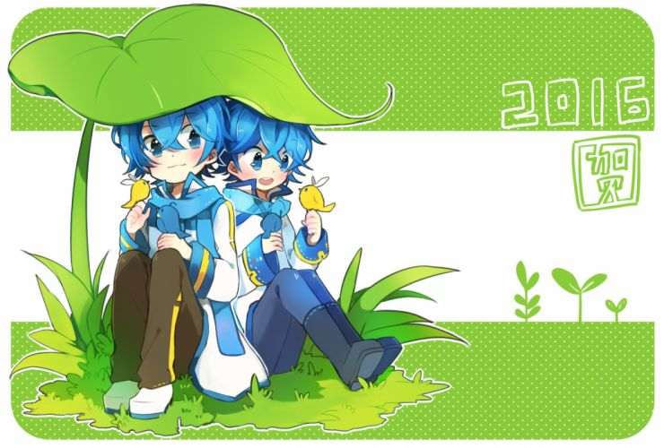 Vocaloid KAITO Bird On Hand Grass Field Rounded Corners wallpaper
