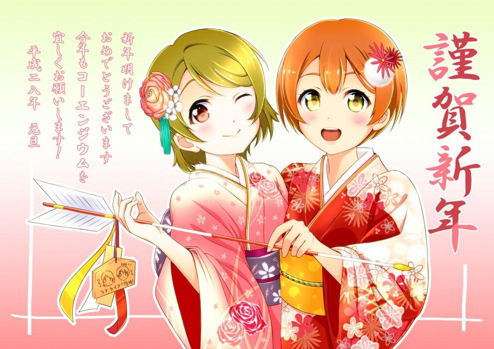 love live hoshizora rin koizumi hanayo new year wallpaper