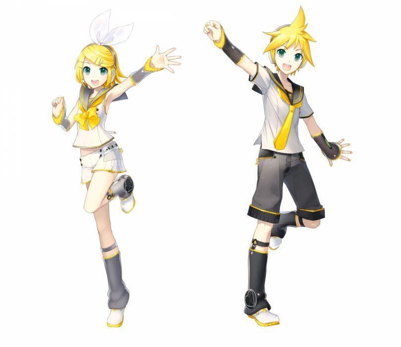Vocaloid Kagamine Len Kagamine Rin Transparent Background Gray Legwear wallpaper