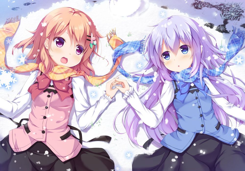 Gochuumon wa Usagi Desu ka Kafuu Chino Hoto Kokoa Laying on Back Snowflakes wallpaper