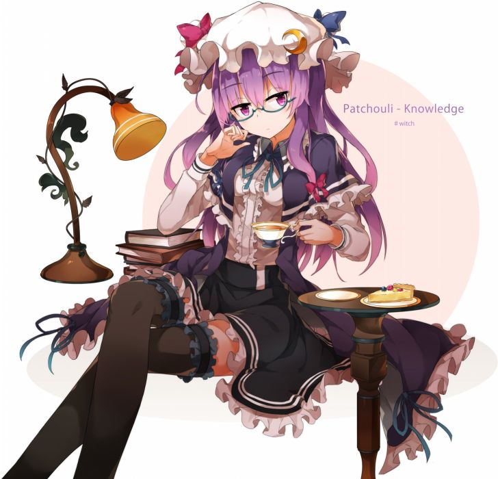 Touhou Patchouli Knowledge Cake Tea Drinks wallpaper